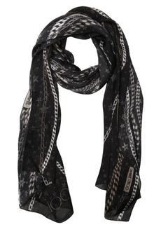 Jimmy Choo black silk twill chain logo printed scarf
