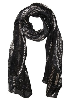 Jimmy Choo black silk twill chain logo printed scarf