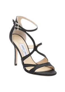 Jimmy Choo black spotted leather 'Furrow' strappy stiletto sandals