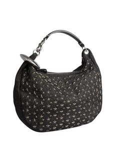 Jimmy Choo black star stud glitter fabric 'Solar' large hobo