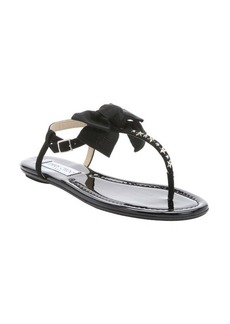 Jimmy Choo black suede and patent leather '151Wren' thong t-strap sandals
