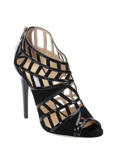 Jimmy Choo black suede and patent leather cutout peep toe 'Vector' sandals