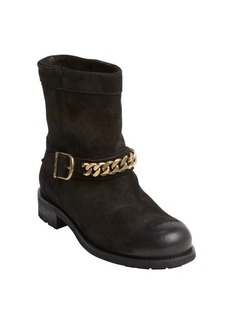 Jimmy Choo black suede chain link strap boots