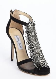 Jimmy Choo black suede crystal pin 'Fortune' heel sandals
