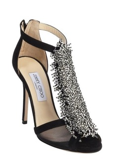 Jimmy Choo black suede crystal pin 'Fortune' heel sandals