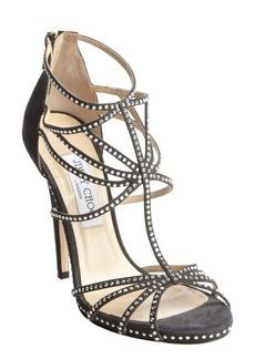 Jimmy Choo black suede crystal studded heel sandals