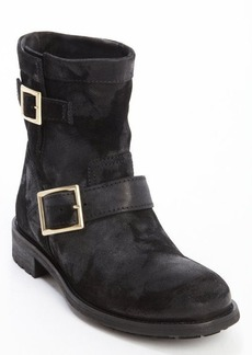 Jimmy Choo black suede dual bucklestrap '144 Youth' boots