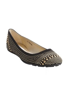 Jimmy Choo black suede-leather gold beaded accent ballet flats