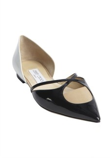 Jimmy Choo black white and nude patent leather 'Rococoa' flats
