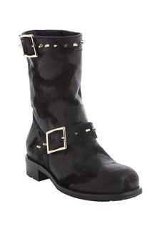 Jimmy Choo black worn leather pale goldtone buckle '144 Dash' boots
