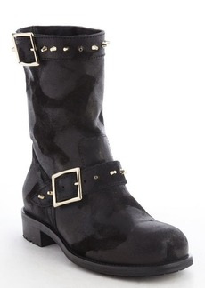 Jimmy Choo black worn leather pale goldtone buckle '144 Dash' boots