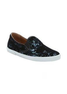 Jimmy Choo blue and black velvet flocked 'Demi' slip on sneakers