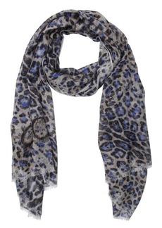 Jimmy Choo blue and grey lightweight leopard print scarf