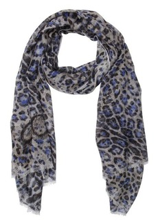 Jimmy Choo blue and grey lightweight leopard print scarf