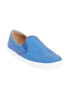 Jimmy Choo blue python embossed leather slip on sneakers
