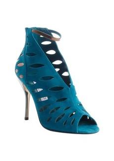 Jimmy Choo blue suede and bronze laser-cut 'Tamera' heel