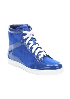 Jimmy Choo blue suede and patent leather 'Toyko' hi-top sneakers