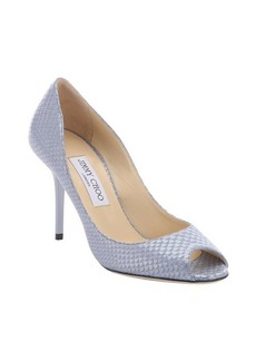 Jimmy Choo bluebell pearlescent snake printed leather 'Evelyn' pumps