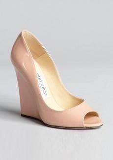 Jimmy Choo blush patent leather 'Biel' peep toe wedge pumps