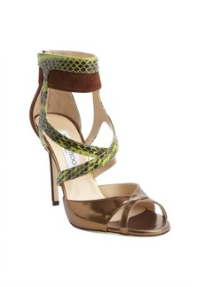 Jimmy Choo bronze and brown patent leather suede accent strappy sandals