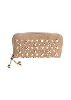 Jimmy Choo brown leather 'Filipa' star studded zipper wallet