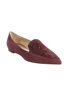 Jimmy Choo burgundy suede 'Guild' glitter accent loafers