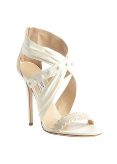 Jimmy Choo chalk white leather and suede 'Lorelai' sandals
