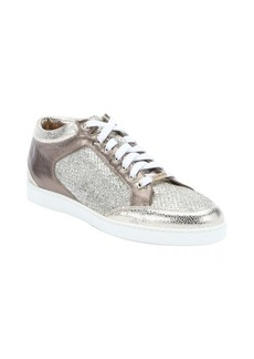 Jimmy Choo champagne glitter and leather 'Miami' lace-up sneakers