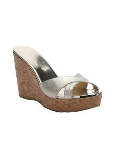Jimmy Choo champagne leather 'Pandora' slip-on platform wedge sandals