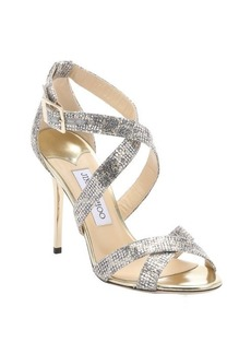 Jimmy Choo champagne leopard print glitter 'Lottie' strappy sandals