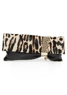 Jimmy Choo 'Chandra' Leather & Leopard Print Calf Hair Clutch