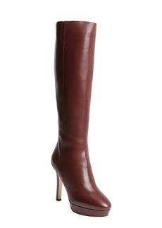 Jimmy Choo claret leather side zip platform heel 'Major' boots