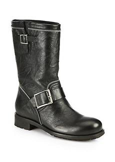 Jimmy Choo Dakar Crinkled Leather Mid-Calf Boots