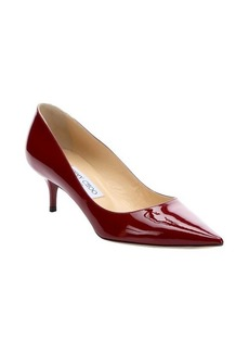Jimmy Choo dark red patent leather kitten heel pointed toe pumps