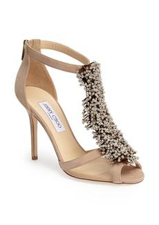 Jimmy Choo 'Feline' Crystal & Suede Sandal (Women)