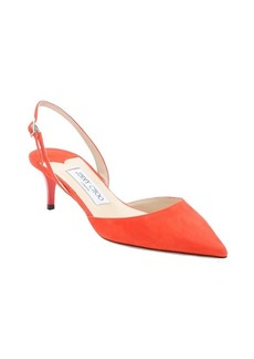 Jimmy Choo fire red suede 'Tide' slingback kitten pumps