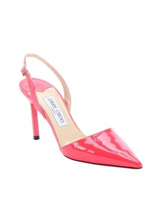 Jimmy Choo fluorescent geranium patent leather and suede 'Davit' slingback pumps