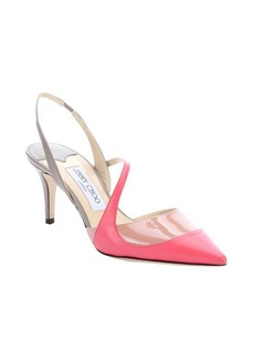 Jimmy Choo geranium pink and grey leather tri-tone 'Monty' slingback pumps