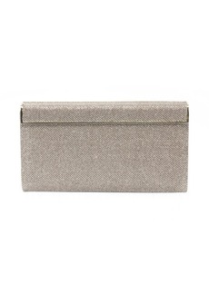 Jimmy Choo glittered gold fabric flap hinged clutch
