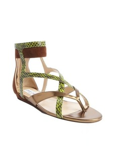 Jimmy Choo gold and green leather snakeskin cross strap sandals
