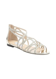 Jimmy Choo gold glitter fabric and leather 'Laxer' sandals