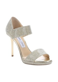 Jimmy Choo gold lamé glitter 'Alana' stiletto sandals