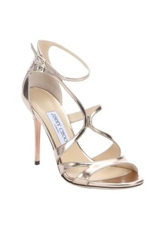 Jimmy Choo gold mirrored leather 'Furrow' strappy stiletto sandals