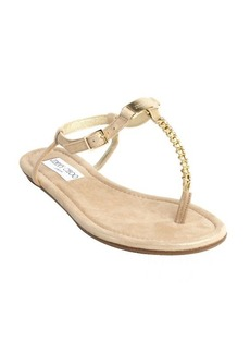 Jimmy Choo gold shimmering leather jewel thong strap sandals