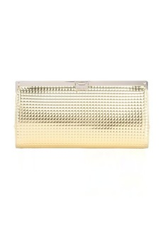 Jimmy Choo gold waffle embossed leather 'Camille' metal frame clutch