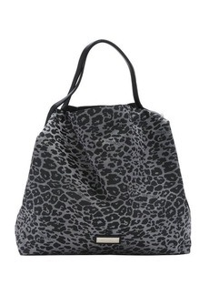 Jimmy Choo grey leather trimmed logo jacquard 'Cameleon' packable tote