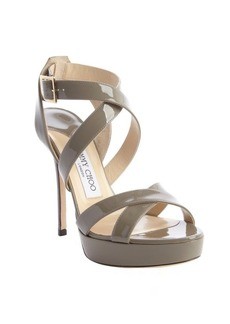 Jimmy Choo grey patent leather crisscross strappy 'Vamp' platform sandals