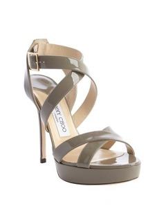 Jimmy Choo grey patent leather crisscross strappy 'Vamp' platform sandals