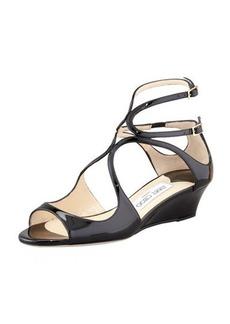 Jimmy Choo Inka Patent Wedge Sandal, Black