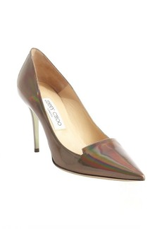Jimmy Choo iridescent silver patent leather pumps